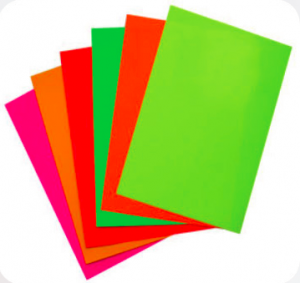 Fluorescent posters for printers and mass marketing
